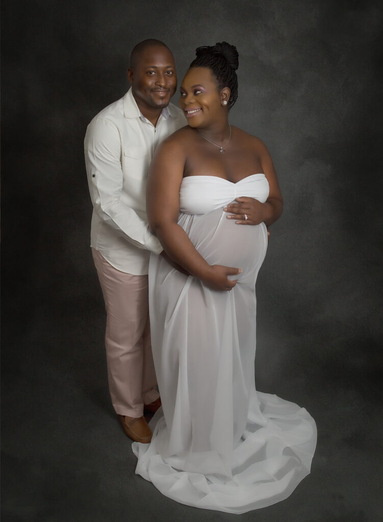 studio maternity white gown hollywood fl photographer