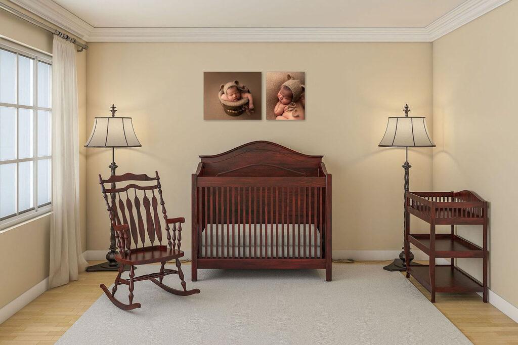 newborn baby photos on nursery wall in cooper city, fl