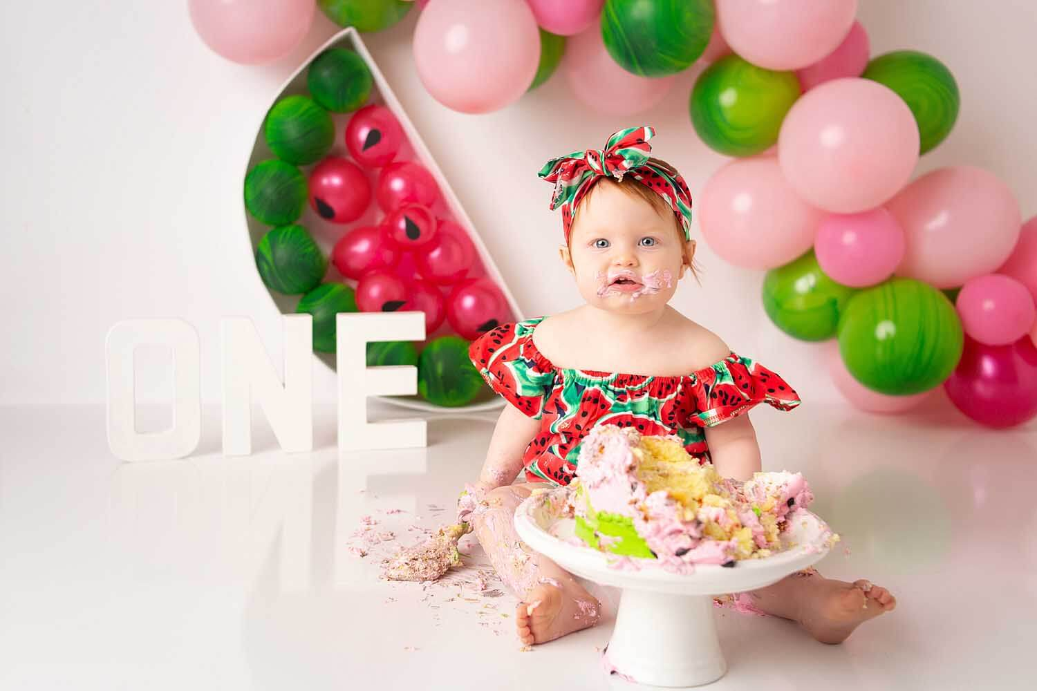 one year baby watermelon cake smash photoshoot