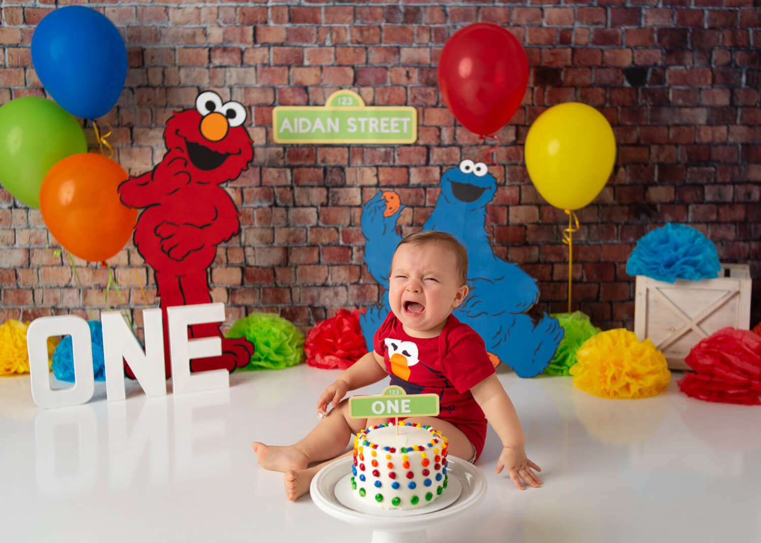 one year old baby crying elmo cookie monster cake smash