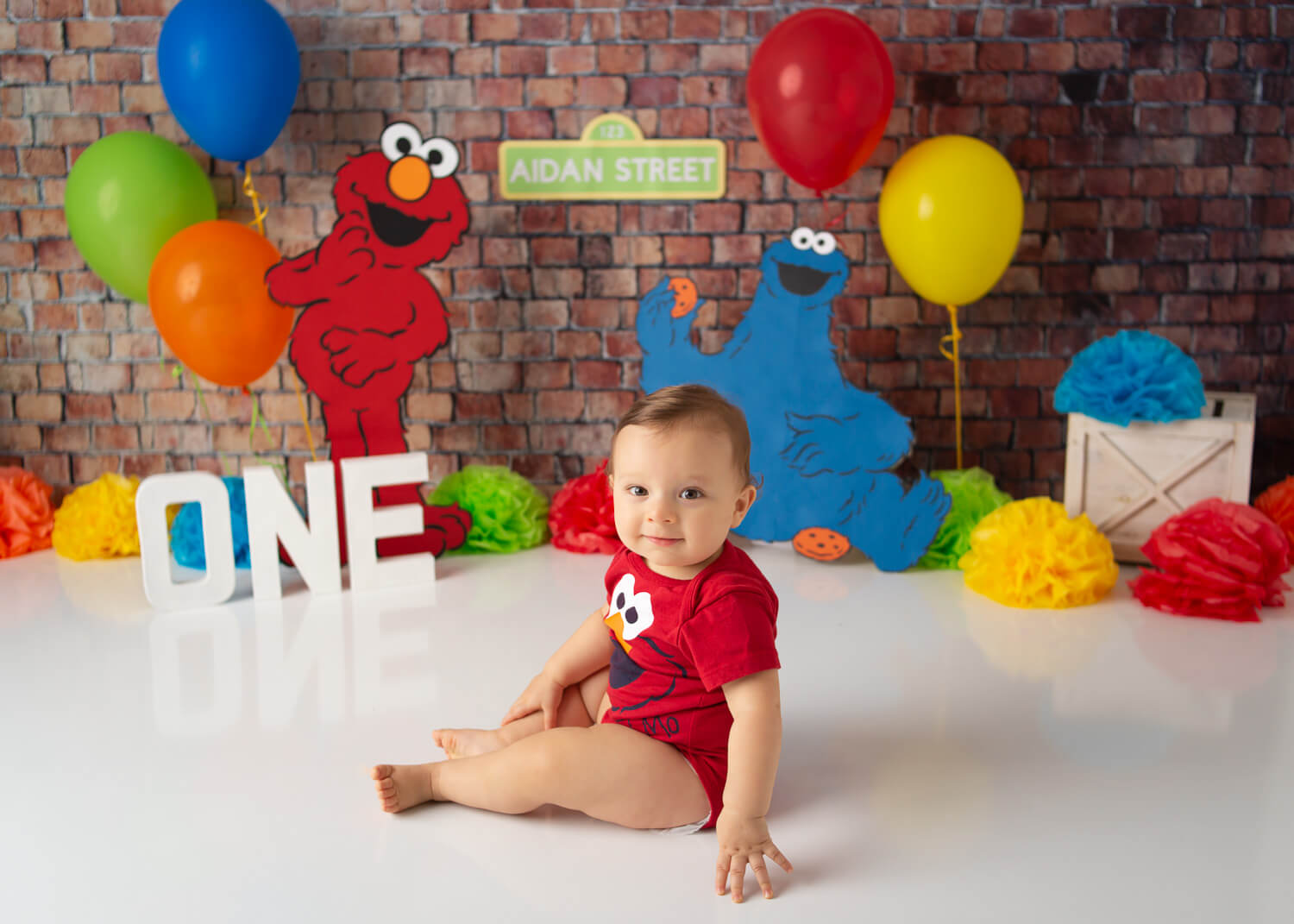 one year old baby sitting on floor elmo cake smash