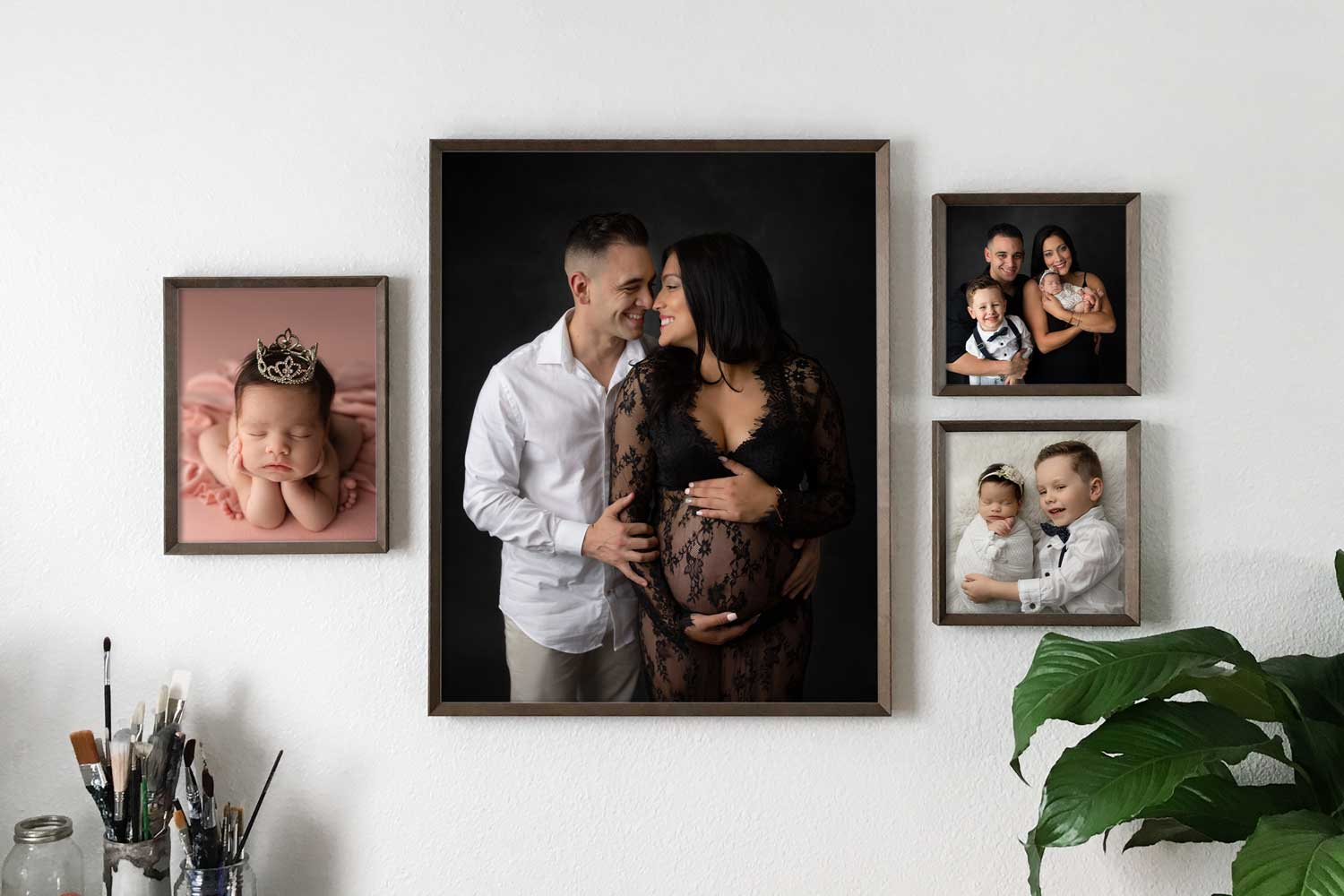 wall-collage-with-maternity-and-newborn-photos